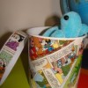 Recycled crafts: comics storage pot