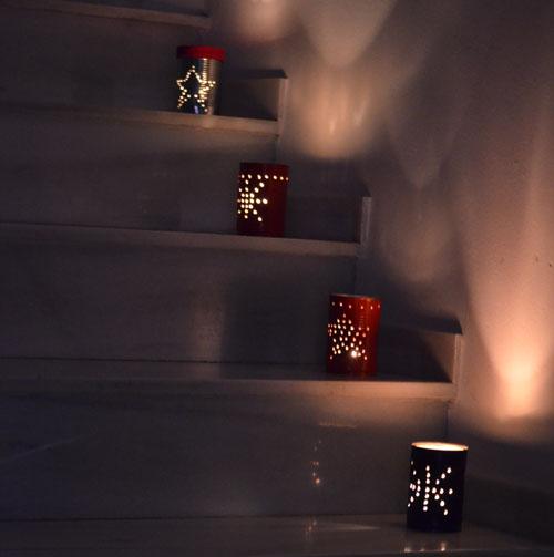 lanterns lit on step